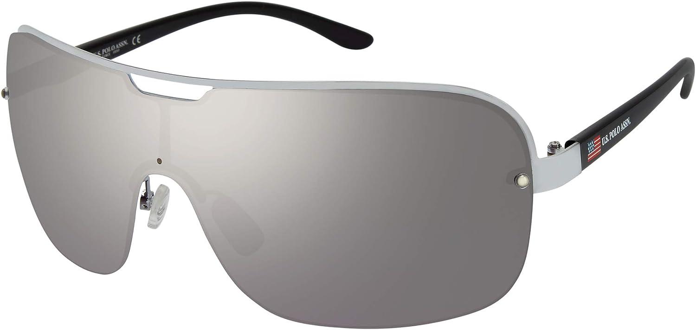 U.S. Polo Assn. Gafas de sol PA1002 de metal semi sin montura Combo Shield con U.S. Logotipo de la bandera y protección UV 100%, 70 mm