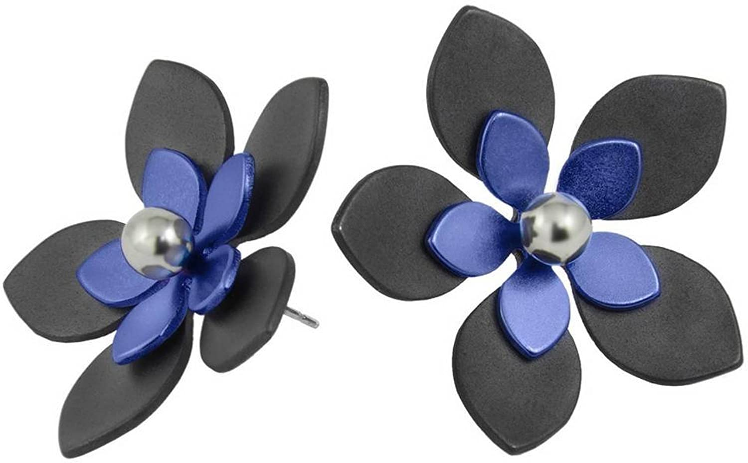 Black Navy 33mm Five Double Petal Flower Stud Earrings by Ti2 Titanium
