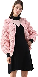 Chicwish Women's Soft Heart Shape Balls Hand Knit Open Front Hot Pink/Ivory/Lavender/Pink/Army Green/Wine Cardigan