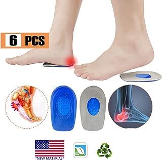 Plantar Fasciitis Inserts, Heel Cups, Gel Heel Pads Cushion,New Material,(3 Pairs) Heel Support Seats, Heel Insert, Great for Heel Pain, Achilles Tendinitis, severs Disease, for Men & Women.