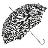 VON LILIENFELD Regenschirm Damen Sonnenschirm Brautschirm Hochzeitsschirm Mary-Poppins-Schirm Automatik Mary schwarz weiß gestreift Zebra mit Rüschen