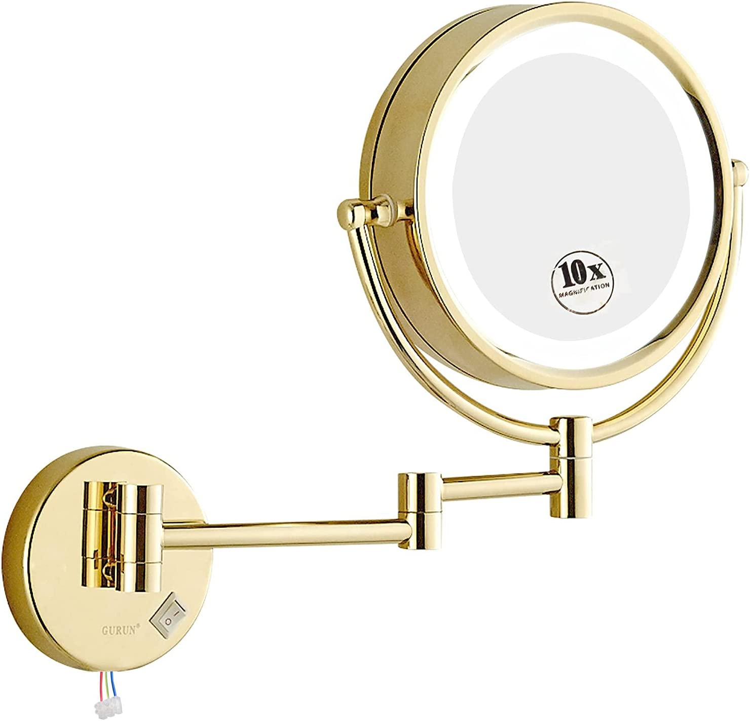 GURUN LED Lighted Wall Mount Magnificatio Makeup Mirror 10x with ...