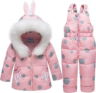 Traje de Nieve para Bebés Niña Chaqueta De Plumas con Capucha Saco + Pantalones de Nieve para Niños Esquí de 2 Piezas Conj...
