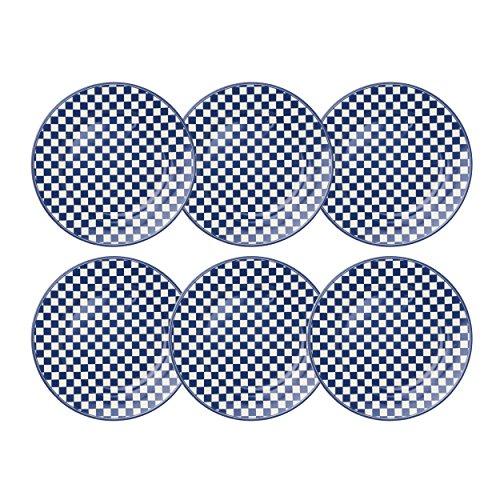 Depot d'argonne Damier Frühstücksteller 6 Stück, keramik, blau, 22.5 x 22.5 x 2.5 cm