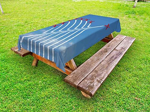 ABAKUHAUS Vliegtuig Tafelkleed voor Buitengebruik, Little Show Planes, Decoratief Wasbaar Tafelkleed voor Picknicktafel, 58 x 104 cm, Rood en blauw
