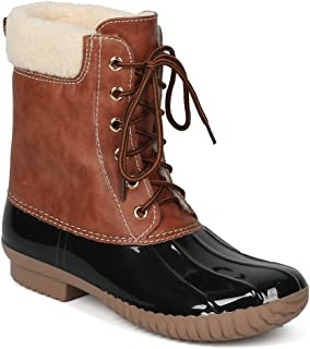 Women Two Tone Faux Shearling Lined Lace Up Ankle Duck Boot-HK90 Yoki Collection