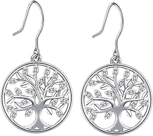 Boucles d'oreilles Arbre de Vie, Argent 925 Boucles Oreilles Pendantes pour Femme Filles, CELESTIA Bijoux Cadeaux pou...