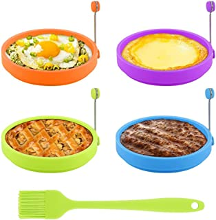 Egg Ring, TGJOR Egg Cooking Rings, Round Pancake Mold, Non Stick Silicone Ring for Eggs, 4 Pack Reusable Fried Egg Mold with an Oil Brush (Multicolor)