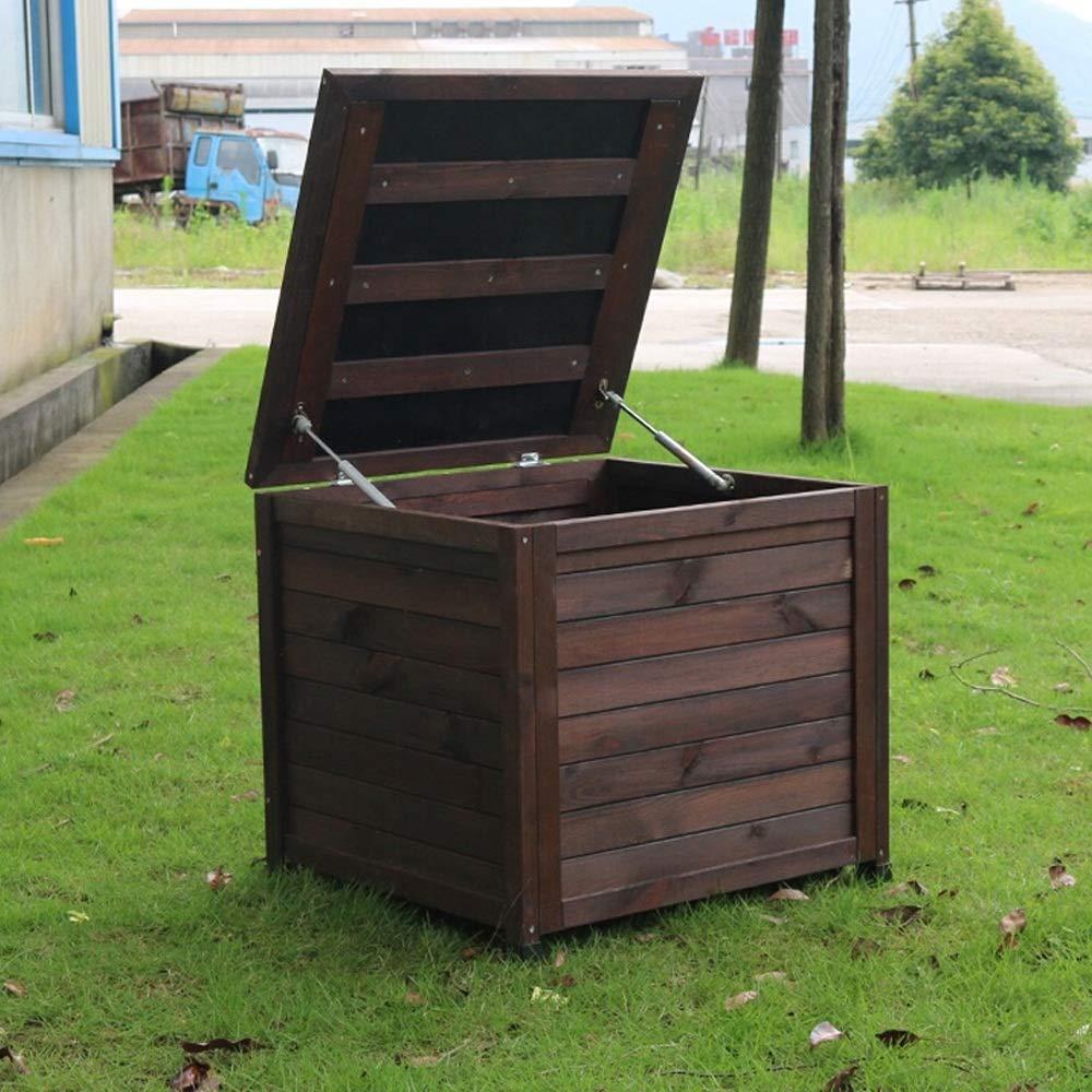 Wanlianer-Home Cajas de Cubierta Exterior sólida Asiento de Madera Armario Gabinete de Almacenamiento Caja for el jardín Balcón Pasillo de Protección Solar (Color : Marrón, tamaño : 60x57x56cm): Amazon.es: Hogar