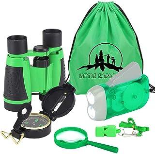 VGEBY1 Explorador de la Naturaleza para Niños : Binoculares, Linterna, brújula, Silbato, Lupa y Mochila con cordón. Young Explorer Toys Kit para Jugar afuera o en el Patio - 4 Colores