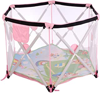 BAIbai Portable Playard Baby Fence Children s Playpen Play Indoor Collapsible Toddler Crawl Mat Carpet Home Marine Ball Pool Kids Playground Protective Toy  Balls Not Included and Mats