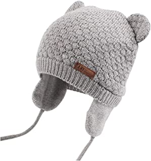 XIAOHAWANG Baby Hat Cute Bear Toddler Earflap Beanie Warm for Fall Winter