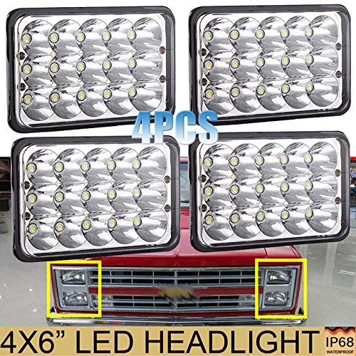 4PCS 4X6 LED Headlights for Chevy Pick Up Trucks C10 C20 K10 K30 K5 Blazer Suburban (1981 to 1987), Sealed Beam High Low H4651 H4642 H4652 H4656 H4666 H4668 H6545 Conversion Kit