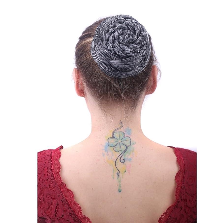 に付ける喪ビーチDoyvanntgo 女性のための小さな編組のラッペ髪の拡張子のおばあちゃんの灰色のウィッグの部分 (Color : グレー)
