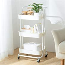 MICOE 3-Tier Metal Storage Rolling cart with Practical Handle and ABS Storage Basket H-T001W White