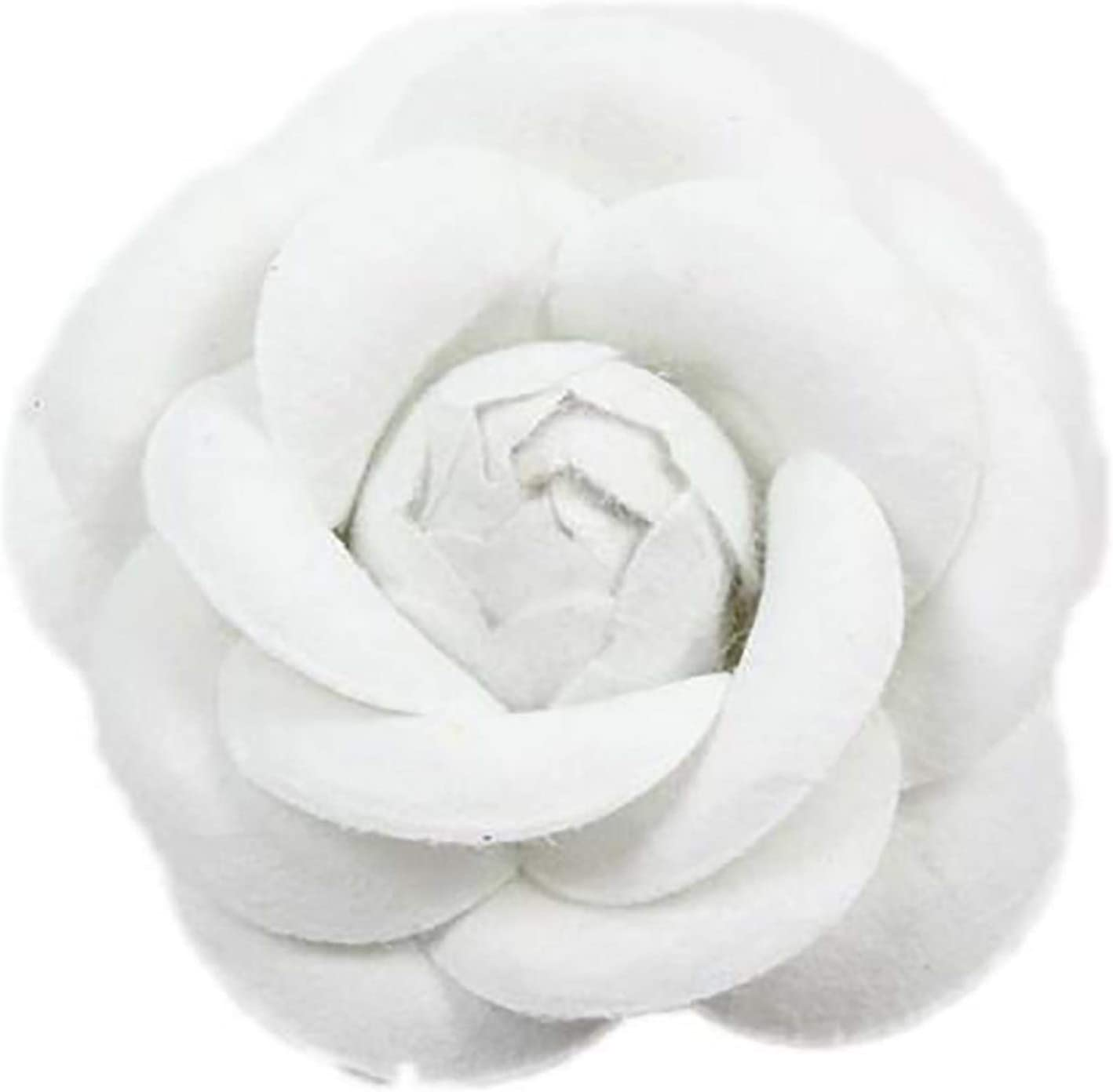 MOONRING Women's Pastel Camellia Flower Pin Brooch for Women and Girls,White