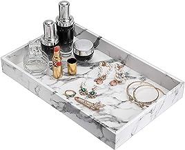 Hipiwe Desktop Organizer Tray - Faux Leather Vanity Tray Dresser Perfume Tray Cosmetics Storage Tray Home Decorative Catch...