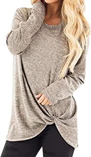 Women's Solid Color Twist Knot Round Neck Long Sleeve Top Loose Comfort Pullover T-Shirt