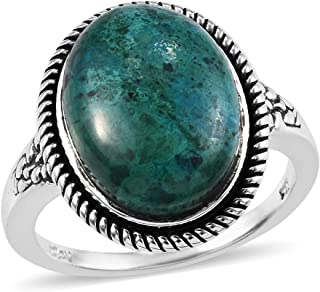 925 Sterling Silver Oval AAA Chrysocolla Solitaire Ring Jewelry for Women Size 9 Ct 39.36