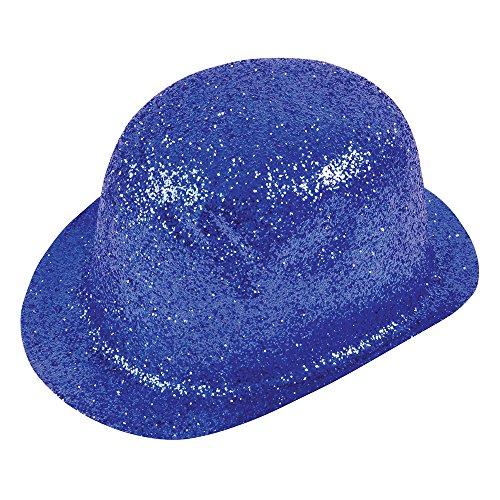 Bristol Novelty Bh162 Paillettes Plastique Chapeau melon, Bleu, Taille unique