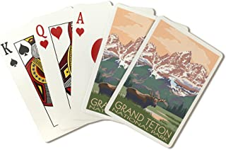 Grand Teton National Park, Wyoming - Moose and Mountains (Playing Card Deck - 52 Card Poker Size with Jokers)