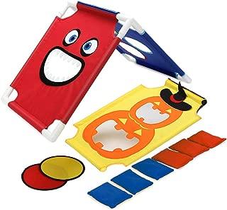 PELLOR Children Sports Sandbags Kids Cornhole Boards Throwing Game for Ourdoor Indoor Party Birthday Halloween with 6 Bean Bag