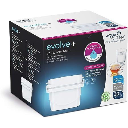 Evolve+ 12 x 1 lot CDU – 12 x cartouches à eau filtrantes uniques 30 jours Evolve+ compatibles avec Maxtra+ Taille unique