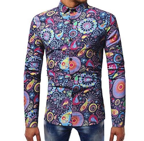 Luckycat Neuer Herren Fashion Printed Bluse beiläufige Lange Hülsen dünne Hemd Oberseiten Mode 2018