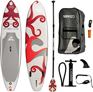 abrazo Inflatable Stand Up Paddle Board (6 Inches Thick) with SUP Accessories | Carry Bag, Pump, Fins, Paddle, Ankle Leas...