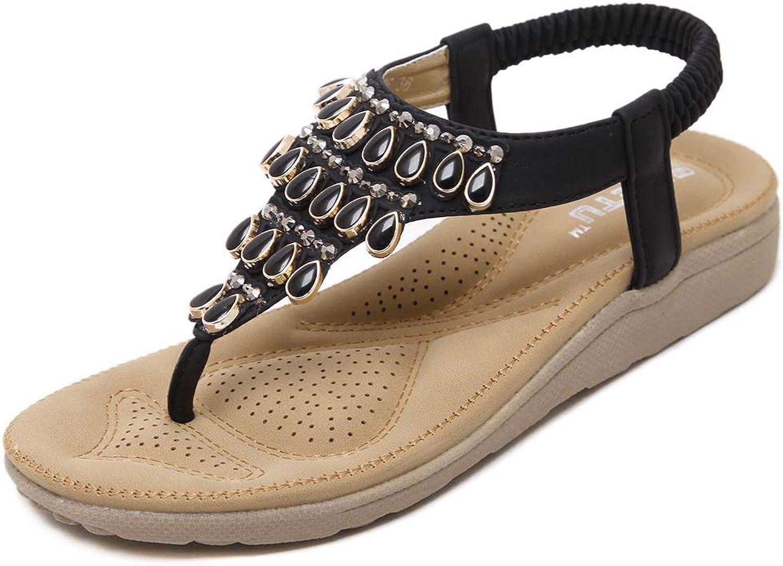 Women's Summer Elastic Sparkle Bohemian Jeweled Flip Flops, Clip Toe Beach Casual Sandals shoes