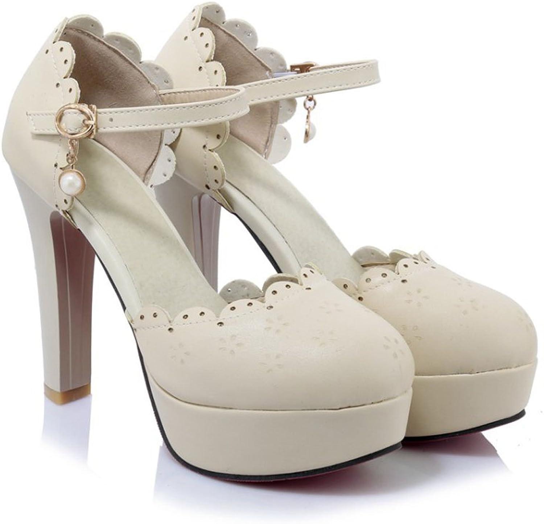 TeLe Xia Womens Closed Round Toe High Heel Stiletto Platform Pumps