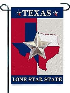 Jiuyiqit3 Home Decorative Garden Flag for House Yard Decor Small Burlap Flag Texas Flag Map Lone Star State