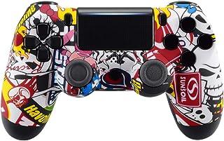 eXtremeRate Carcasa Mando PS4 Funda Delantera Protectora de la Placa Frontal Antideslizante Cubierta de reemplazo para Mando del Playstation 4 PS4 Slim Pro con JDM-040 JDM-050 JDM-055 (Sticker Bomb)