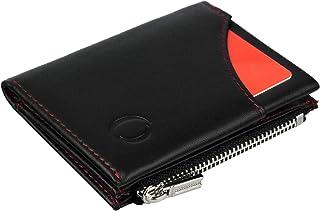 9b5dd5b0d0 Portafoglio nero/rosso uomo piccolo intelligente e sottile in vera pelle  con porta carte di
