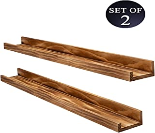 AZSKY Wall Picture Ledge Shelf Display Set of 2-Rustic Wood Color Floating Shelves-Nursery Book Holder Decorative Shelf Suitable for Living Room, Bedroom, Kitchen, Bathroom(36in)