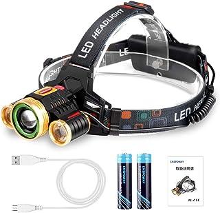ヘッドライト led 充電式 釣り 登山 防災 4段階点灯モード ズーム機能 防水ヘッドライト 超高輝度ライト アウトドア・ランキング・キャンプ・夜作業等 (金)