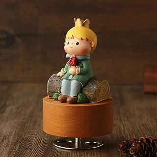 الأمير الصغير ساعة الدوران قاعدة دائرية صندوق الموسيقى الخشبي هدية اكسسوارات تزيين المنزل