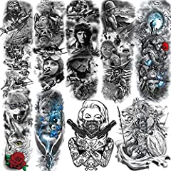 💎【9 Sheets Various Styles】 3D Unique Designed by ALISA Temporary Tattoos. Every Package Includes 9 Sheets Different Patterns USA Pride Army Navy War Peace Brave Patriotic American Soldier Full Sleeve Temporary Tattoo For Women Men Adults Kids Teens C...
