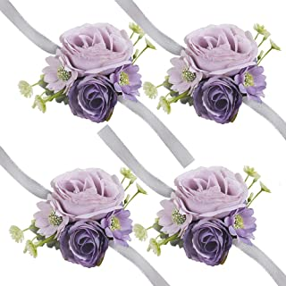 HiiARug Wrist Corsage for Wedding, Set of 4 Wrist Corsage Purple for Bridesmaid Hand Flower for Wedding Festival Beach Party Prom Ribbon (Corsage Purple 4pcs)