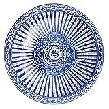 Plato marroquí 'Beldi', azul, diámetro de 30 cm, multicolor, de cerámica marroquí, grandes cuencos de cerámica de Marruecos, vajilla plana pintada a mano