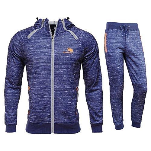 Airavata Homme Ensemble Pantalon de Sport Sweatshirt à capuche Jogging Survêtement - Bleu6 - Medium