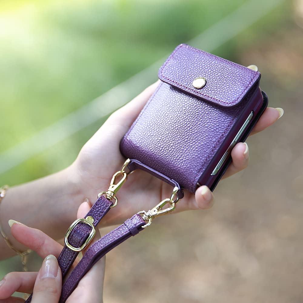 Galaxy Z Flip Card Case/Z Flip 5G Case, Genuine Leather Wallet Samsung Z Flip Case, 2 Credit Card Case Secret Pocket Phone Case Cover for Samsung Galaxy Z Flip (2020) - Purple