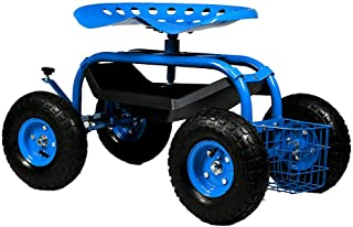 Sunnydaze Rolling Gardening Chair Cart with Wheels - Full Range 360 Swivel Seat with Adjustable Height - Utility Tool Tray and Storage Basket - Blue