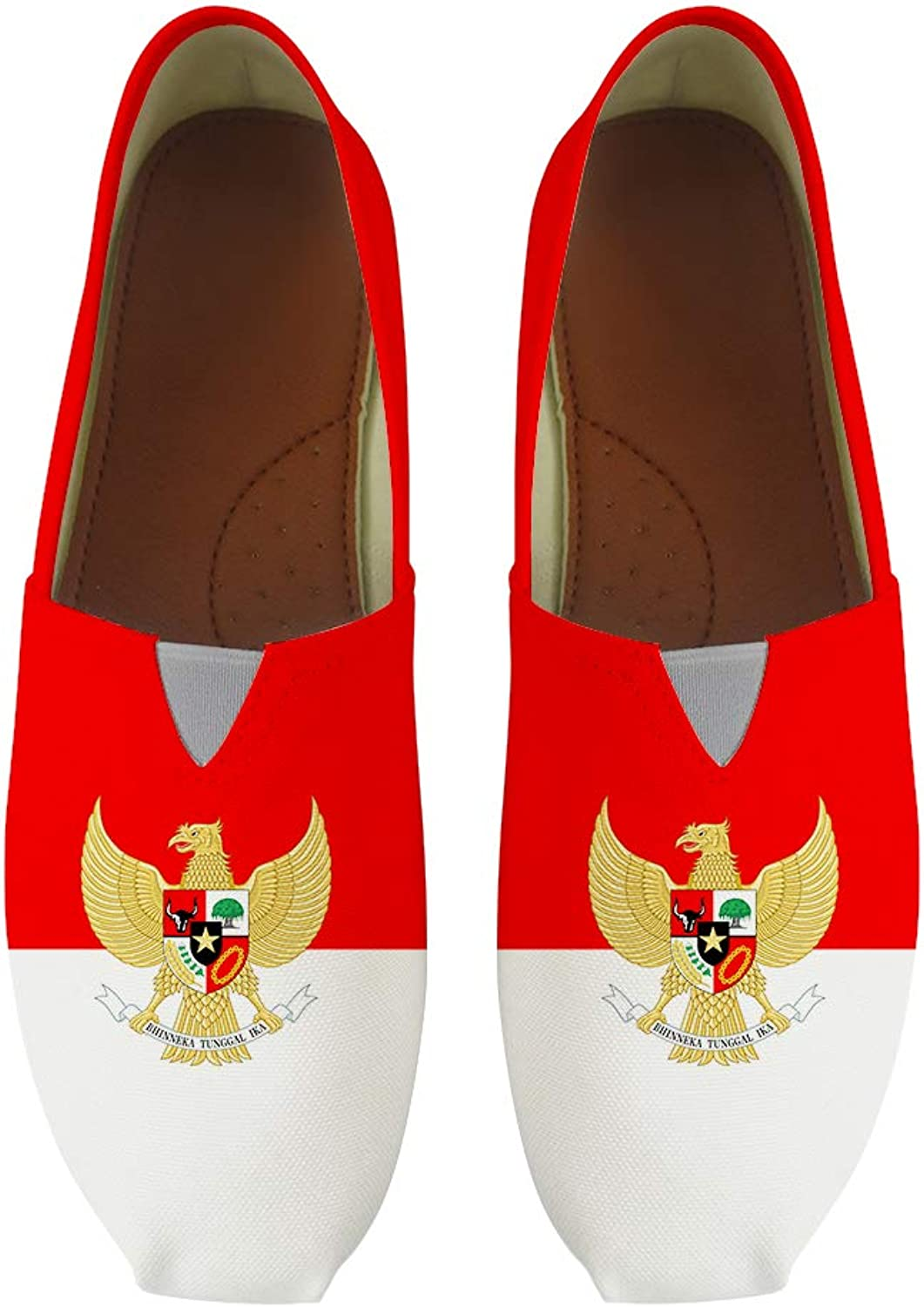 Owaheson Classic Canvas Slip-On Lightweight Driving shoes Soft Penny Loafers Men Women Indonesia Flag National Emblem