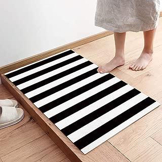 Black and White Stripes Fabric Door Mat Rug Indoor/Outdoor/Front Door/Shower Bathroom Doormat, Non-Slip Doormats, 20x32 Inch