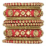 Aheli Ethnic Handmade Silk Thread Faux Stone Studded Bangle Set Chuda Indian Wedding Wear Fashion Jewelry for Women