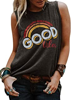 Women Vintage Sleeveless Good Vibes Rainbow Muscle Tank Tops Casual Graphic Tee T-Shirt