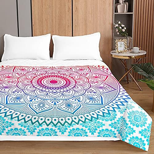 Mandala Colcha de Verano Cubrecama Colcha Bouti, Chickwin Ligero Edredón Manta de Dormitorio - Suave Multiuso Colchas para Cama de Infantil Individual Matrimonio (Rosado Azul,130x150cm)