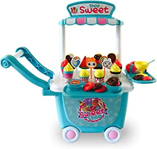 Kid Ice Cream Cart Toy Set 45 PCS Pretend Food Play Set for Kids Activity Early Development Educational Toy for Kid Toddle...
