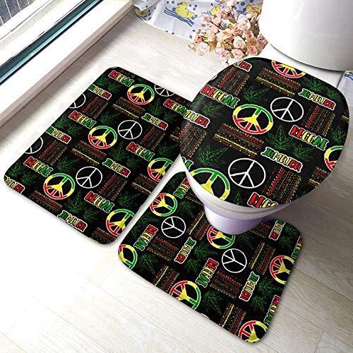 Juego de Alfombras de Baño Tapete de Baño Antideslizante Tapa de Inodoro Juego de Tapetes de Baño de 3 Piezas para Hotel en Casa,Jamaica Hippie Peace Reggae Flag Marihuana